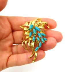 See Video Vintage Turquoise Brooch / Pin In 18k Yellow Gold 25g, Size 2.5 X1.5