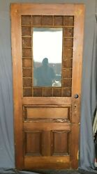 1 Antique Exterior Stained Amber Textured Glass 34x83 Entryway Door Vtg 456 -21b
