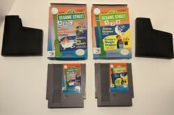 Sesame Street 123 And Abc - 2 Games - Nes W/ Boxes - Tested