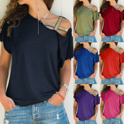 Womens Cold Shoulder Short Sleeve T Shirt Casual Solid Blouse Loose Tunic Tops $12.64