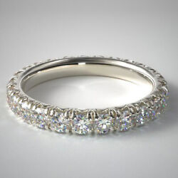 1.50 Carat Real Diamond Wedding Band For Her Solid 950 Platinum Size 5 6.5 7 8 9