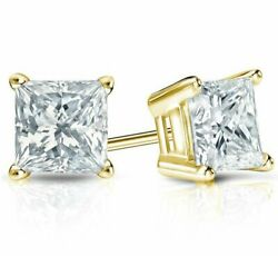 Real 1 Carat Princess Cut Solitaire Diamond Earrings Stud Solid 18 K Yellow Gold