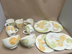 Pier 1 Siena Floral Dining Set Dishes Mugs Plates Earthenware Italy