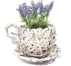 Flowerpot Wooden And Willow Tree Shaped Cup With Lavender Fake Home Decoration