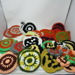 Vintage Lot Of Crochet Potholders And Refrigerator Magnets And Grannysquares