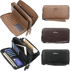 Men#x27;s Double Zipper Wristlet Wallet Clutch Purse Cell Phone Bag Long Wallets US $14.49
