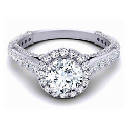 1.30 Ct Natural Diamond Engagement Ring Solid 14k White Gold Band Size L M N P