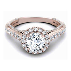 1.30 Ct Real Diamond Engagement Womenand039s Ring Solid 14k Rose Gold Band Size L M N