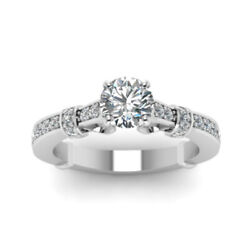 0.80 Ct Real Diamond Engagement Ring Hallmarked 14k White Gold Band Size 6 7 8 9