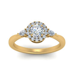 0.70 Ct Real Diamond Ring Christmas Sale Solid 18k Yellow Gold Rings Size 5 6 7