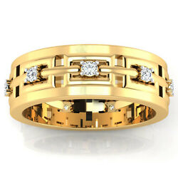 0.23 Ct Real Diamond Menand039s Ring Solid 14k Yellow Gold Band Round 10 11 12