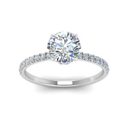 0.85 Ct Real Diamond Christmas Gift Ring Solid 18k White Gold Band Size 5 7 8 9