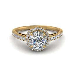 0.85 Ct Real Diamond Engagement Ring Solid 14k Yellow Gold Rings Size 6 7 8 9.5