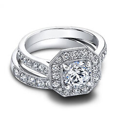 1.60 Ct Real Diamond Engagement Ring Set Solid 14 K White Gold Rings Size 6 5 4