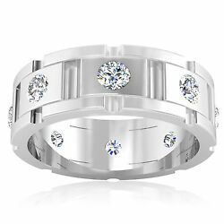 0.88 Ct Real Diamond Engagement Menand039s Ring Solid 14k White Gold Round Size 5 7 9