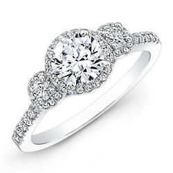 Round 1.22 Ct Real Diamond Engagement Ring 14k White Gold Rings Size 4 To 8