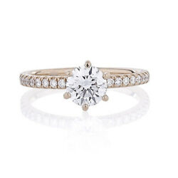 Solid 18k Rose Gold Band 0.75 Ct Round Real Diamond Engagement Ring Size 6 7 8