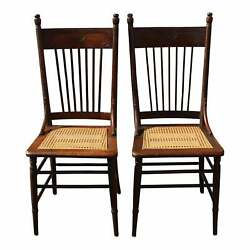 Late 19th Century Pair Of Oak Pressed Back Spindle Cane Seat Dining Chairs