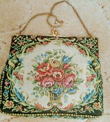 Vintage Tapestry Handbag Chain Handle Kiss Lock Satin Lined Made In France EUC