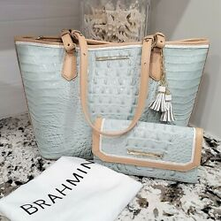 Brahmin Medium Asher Tote And Soft Checkbook Sea Glass Tri-color Carried Once Euc