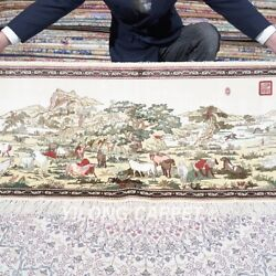 Yilong 1.7'x3.7' 500lines Handwoven Silk Rug Horse Exquisite Tapestry Mc555h