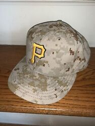 New Era Pittsburgh Pirates Baseball Official Hat Cap 7.5 Rare Army Camouflage