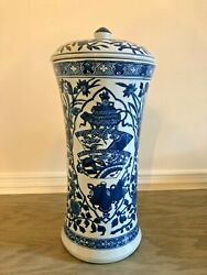 Exquisite Chinese Blue And White Porcelain White Glaze Ginger Jar Vase With Top