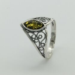 Size 8 - Green Oval Antique Baltic Amber Ring - 925 Sterling Silver 3849