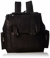 Piel Leather Double Loop Flap-over Laptop Backpack Chocolate One Size