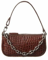By Far Rachel Mini Croc Embossed Clutch Women#x27;s Brown $279.99