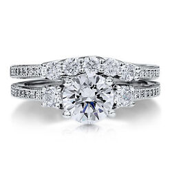 1.50 Ct Diamond Engagement Ring Set Real 14k White Gold Rings Shade Cut Size 6