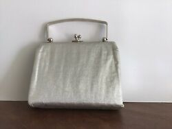 Vintage Silver Purse Handbag Evening Bag with Snap Closure Looks to be NEW $13.75