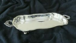 Vintage Epca Bristol Silver By Poole 57 Footed Serving Tray With Handles Plated