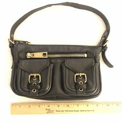 AUTHENTIC Vintage Marc Jacobs Black Leather Handbag Purse Bag Pochette $45.00