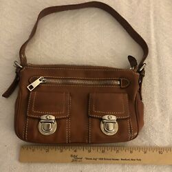 AUTHENTIC Vintage Marc Jacobs Brown Tan Leather Handbag Purse Bag Pochette $45.00