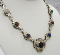 Vintage Sterling Silver Onyx Carnelian Agate Ts-45 Taxco Mexico Flower Necklace