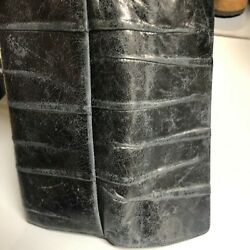 Hobo Wallet Clutch Black Leather *DiSTRESSED* magnet closure $21.25
