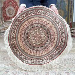 Yilong 2and039x2and039 600lines Handmade Silk Round Medallion Rug High Density Mc640h