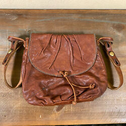 Lucky Brand Brown Italian Leather Crossbody Purse Handbag Hobo Magnet Clasp $60.00