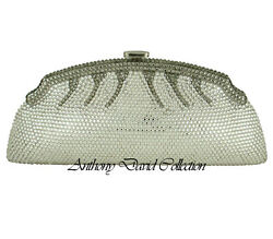 Anthony David Silver amp; Pewter Crystal Clutch Evening Bag with Swarovski Crystals $179.99