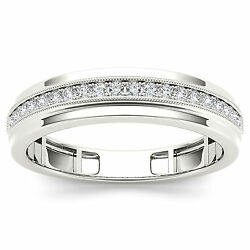 Sales Certified 0.30 Ct Diamond Mens Ring Band 14k White Gold Shade Si1/i-j 544