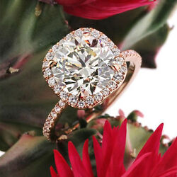 Real 14k Rose Gold 3.60 Carat Moissanite And Real Diamond Engagement Ring Size 7 8