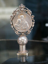 Antique Religious Seal Silver On Bronze 19th C Century Signed