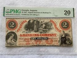 1861 Agusta Georgia Insurance And Banking Co. 2 Two Dollar Bill Pmg Certified