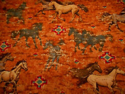 Western Fabric 1 1 3 Yard Gray Tan Running Horses Aztec on Brown Quilting Cotton
