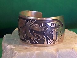 Navajo Overlay Cuff Bracelet By Hyson Craig - Massive And Gorgeous