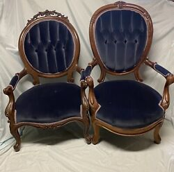 17567 Pair Victorian Carved Chairs Ladyandrsquos And Gentlemanandrsquos Blue Velvet Tucked