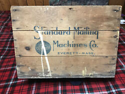 """Large Vintage Wood Crate Standard Mailing Machines Co Everett Mass 22 1/2"""" X 16"""""""