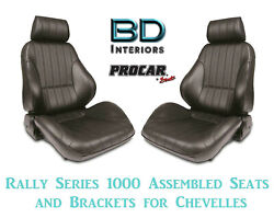 Rally 1000 Series Assembled Seats And Brackets 80-1000-51 For 1964 -1977 Chevelle