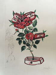 Rare Engraving Salvador Dali Authentic Numbered Hand Signed Floriscens Rose